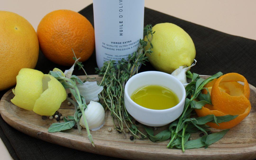 Huile d'olive parfumée aux aromates / agrumes